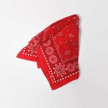 Vintage 60s Elephant BANDANA / 1960s Trunk Down Polka Dots & Paisley Red Cotton Large Handkerchief