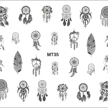 1 Sheet Nail MT35 Black Dream Catcher Feather POP Nail Art Water Transfer Sticker Decal For Nail Art Tattoo Tips DIY Nail Tool