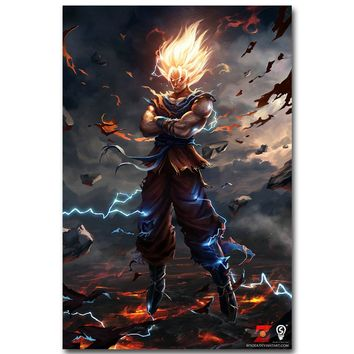 Dragon Ball Z Art Silk Fabric Poster Print 13x20 24x36inch Japanese Anime Goku Picture for Living Room Wall Decor Gift 015