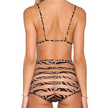 Flesh Bikini Print Straps Silk Swimsuit for