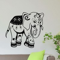 Wall Decal Vinyl Sticker Animal Elephant Yoga Indian Decor Sb1058