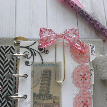 Girly Glittery Pink Bow on Gold Planner Clip or Book Mark