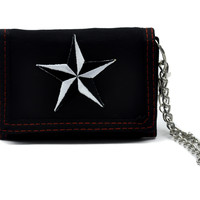 Nautical Star Trifold Wallet Black and White with Chain
