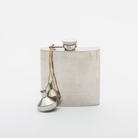 Hip Flask in Green Khaki Waxed Canvas Case