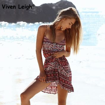 Viven Leigh Boho Inspired Summer Dresses Floral Print V-neck Mini Casual Dress Women Bohemian Hippie Chic Vestidos Clothing
