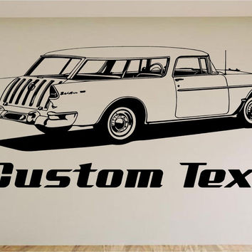 1955 Chevy Nomad Car Wall Decal - Auto Wall Mural - Vinyl Stickers - Boys Room Decor