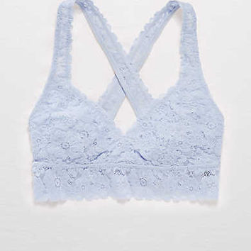 Aerie Lace Cross-Back Bralette , Creme Blue
