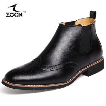 Men Winter Boots Fur Cow Split Leather Boots Men Winter Shoes Ankle Chelsea Boots For Men Botas Hombre Chaussure Homme 2016