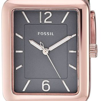 Fossil Atwater Rectangular Shaped Rose Gold SS Gray Women Watch ES4245
