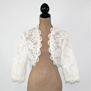 Vintage White Lace Jacket Women Bolero Wedding Jacket Cropped White Jacket Romantic Bride Jacket Vintage Clothing Women Clothing