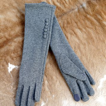 Long Button Gloves, Charcoal