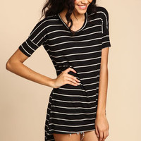 Black Striped Jersey Tee Dress - LoveCulture