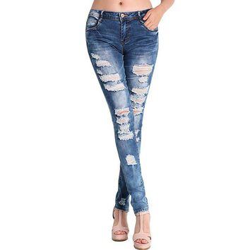 Stretch Jeans Women Girls Hole Cotton Ripped Pants Blue Denim High Waist Skinny Pencil Slim Ladies Jeans