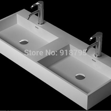 1200Mm Corian Under Counter Double Wash Sinks Rectangular Solid Surface Stone Double Vessel Basins Rs3834-13307