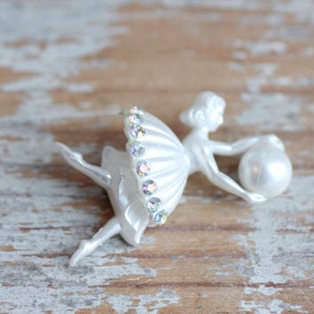 Vintage Art Deco Dancer holding Ball with Rhinestones Brooch or Pin