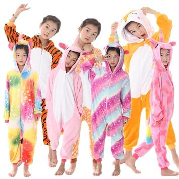 Kigurumi Pajamas For Children Girls Giraffe Anime tiger Onesuit Kids Costume Boy Sleepwear Blanket Jumpsuit Baby Licorne Sleepers