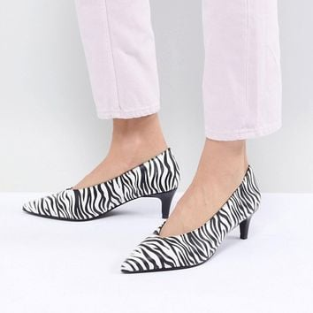 Monki Kitten Heel Zebra Shoe at asos.com