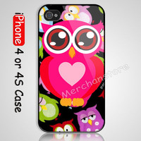 Cute Owls Custom iPhone 4 or 4S Case Cover