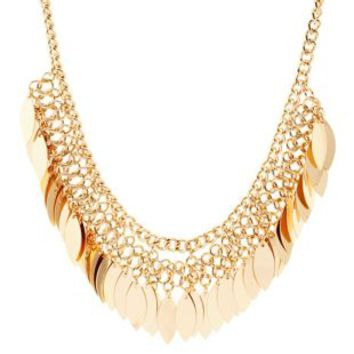 Gold Dangling Chain Collar Necklace by Charlotte Russe