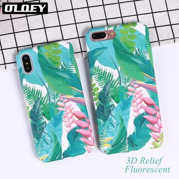 OLOEY Summer Flowers Leaves TPU phone Cases For iphone 7 7Plus for iphone 8 8plus X 6 6splus Plants Painted Phone Back Cover