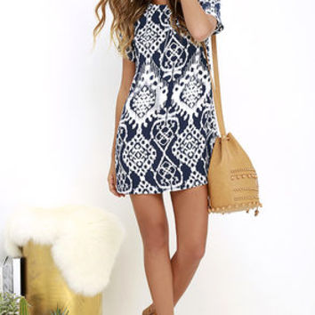Lucy Love Charlotte Navy Blue Print Shift Dress