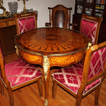 Antique French Table Set with 4 Chairs