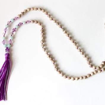 108 Handknotted Lotus Seeds with Amethyst, Amazonite, and Handmade Tassel