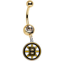 Licensed NHL Clear Gem Gold Anodized Boston Bruins Dangle Belly Ring | Body Candy Body Jewelry