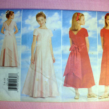 Girl's Formal Dress Girl's Size 7, 8, 10 Butterick 4753 Sewing Pattern Uncut Flower Girl Dress for Wedding