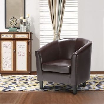 iKayaa US UK FR Stock Chair PU Leather Barrel Tub Chair Armchair Accent Club Chair Single Sofa Living Room Furniture Wood Legs