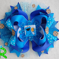 Cookie monster hair bow, ott bow , boutique blue ribbon bow for girls, layered Hair Bow.