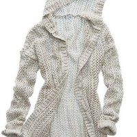 Aerie Women's Hooded Cardigan (Heather Frost)