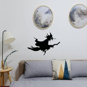 Halloween Witch Riding Broom 04 Vinyl Wall Decal - Removable (Indoor)
