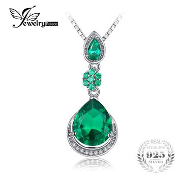 JewelryPalace Elegant 9.84ct Created Emerald Water Drop Pendant 925 Sterling Silver Vintage Fine Jewelry Not Include the Chain