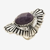Blackheart Purple Stone Art Deco Ring