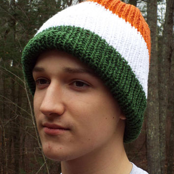Flag Hat, Knit Hat in Flag Colors- choose: American Flag, Irish Flag, French Flag, German Flag, Canadian Flag, Enlgish Flag; Patriotic Hat