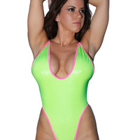 New High Cut Form Fitting Neon Green Bodysuit