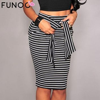 FUNOC 2017 Autumn Winter Women Skirt Black/White Striped Bow-Tie Zipper Knee-Length Empire Pencil Skirts Sexy Slim OL Skirts