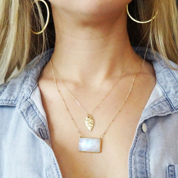 Delicate Moonstone Necklace, Gold Layered Necklace with a Gold Arrowhead and Moonstone Pendant on Satellite Chain