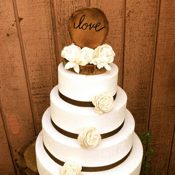 Wedding Cake Topper, Rustic Cake Topper, Wooden Cake Toppers