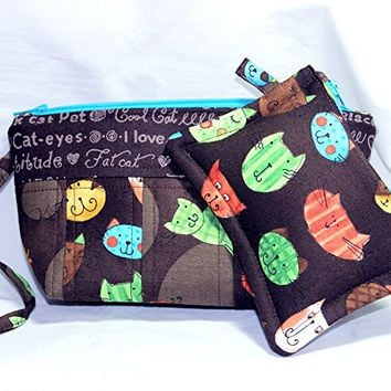 Cat Themed Wristlet and Matching Coin Purse, Cat Wristlet, Cat Change Purse, Cat Wristlet and Coin Purse Set
