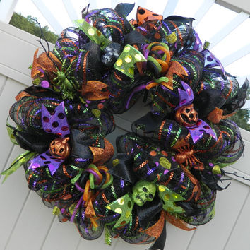 Deco Mesh Halloween Wreath, Spider Pumpkin skull wreath, black mesh purple green orange, halloween decor