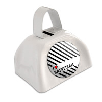 I Love Heart Basketball White Cowbell Cow Bell