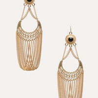 bebe Womens Half Moon Chain Earrings Gold
