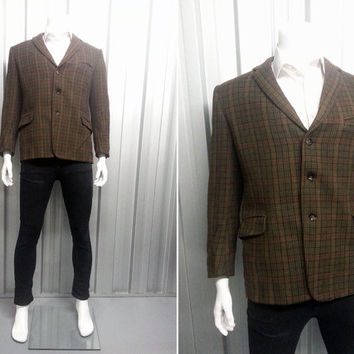 Vintage 60s Tweed Blazer Sports Coat Brown Mens Jacket Plaid Blazer Tartan Pattern Ranella Tailored by Lewis's Flap Pocket Wool Sportscoat