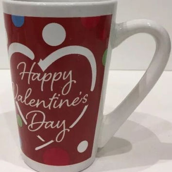 Valentine's MTY International Heart Mug MultiColor Dots Happy Valentines Day Cup