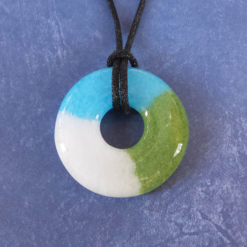 Turquoise Blue, Olive Green, and White Necklace, Fused Glass Jewelry  - Jolie - 4712 -4