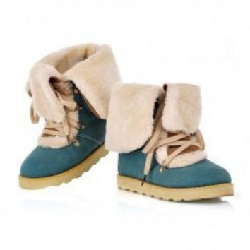 Wholesale Round toe leisurely color matching warm-keeping boots Z-FF108 blue - Lovely Fashion