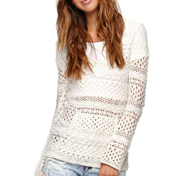 Roxy Gridley Open Sweater - Womens Sweater - Brown -