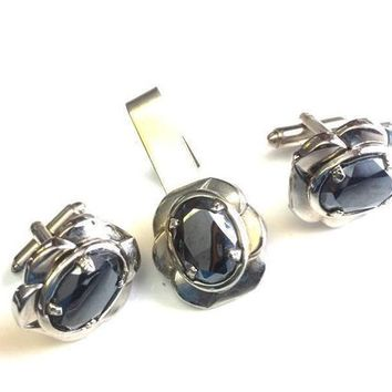 ON SALE Vintage Hematite Stone Cuff Links Tie Bar Men's Jewelry Set, Mid Century Gift Collectible Suit & Tie Accessories For Him